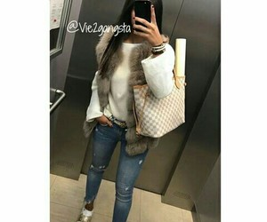 fille, jeans, and outfit image