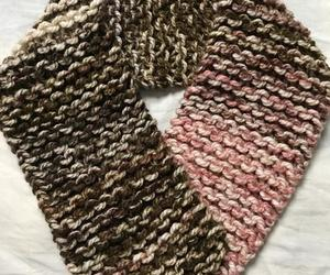 chunky knit scarf, chunky neck warmer, and brown cream scarf image