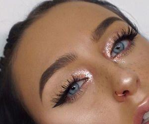 girl, eyeshadow, and glitter image