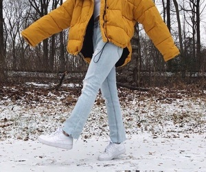 coat, outfit, and puffer jacket image