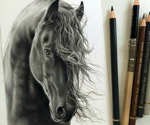 art, draw, and horse image