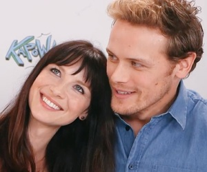 sam heughan, caitriona balfe, and outlander cast image