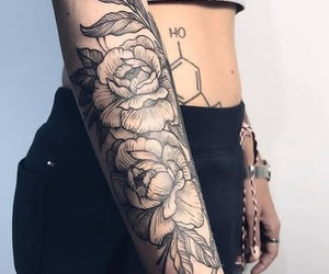 arm, flowers, and girl image
