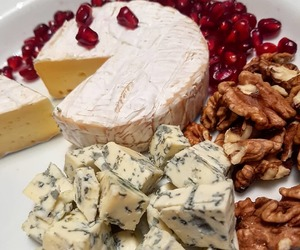 cheese, nuts, and pomegranate image