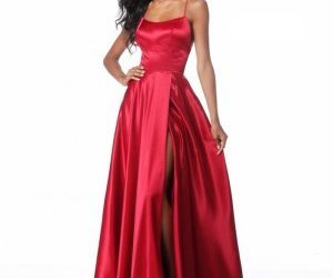 prom dresses with straps, satin prom dresses 2018, and sherri hill 51631 image