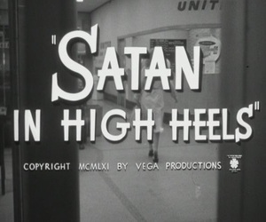 satan, black and white, and high heels image
