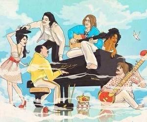 music, Freddie Mercury, and john lennon image