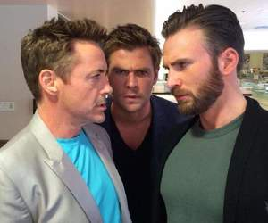 chris evans, chris hemsworth, and Avengers image