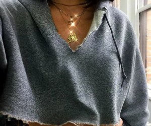 gold layered necklace, gold choker necklace, and grey crop hoodies image