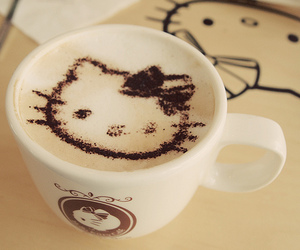 hello kitty, coffee, and cup image
