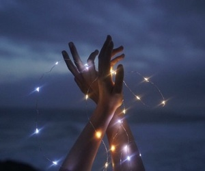 light, hands, and night image