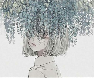 anime, girl, and plant image