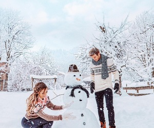winter, snowman, and love image