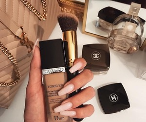 nails, chanel, and makeup image
