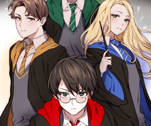 anime girl, handsome, and wizards image