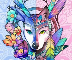wolf and deer image