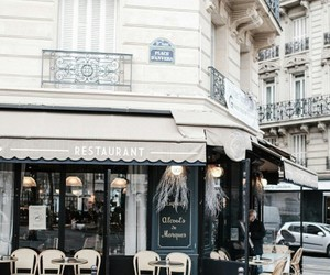city, paris, and restaurant image