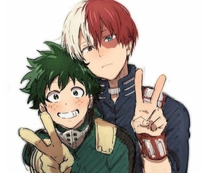 my hero academia, midoriya izuku, and todoroki shouto image