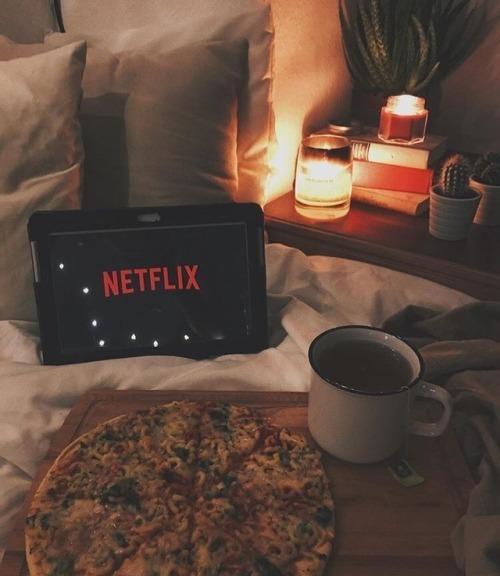 netflix, pizza, and tea image