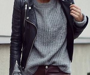 clothes, fashion, and grey sweater image