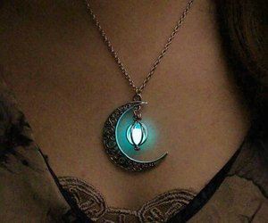 light, moon, and jewelry image