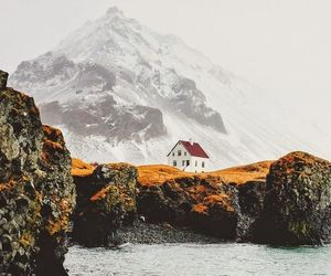 mountains, house, and nature image