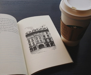 book, coffee, and starbucks image