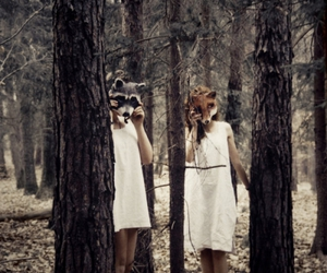 girl, forest, and fox image