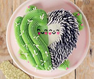 cactus, hedgehog, and cake image