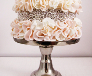 cake, wedding, and silver image