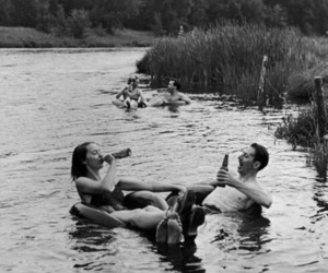 beer, black and white, and couple image