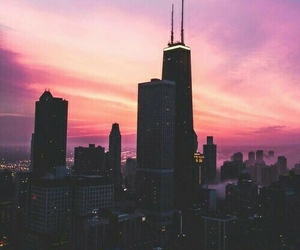 city, sky, and pink image