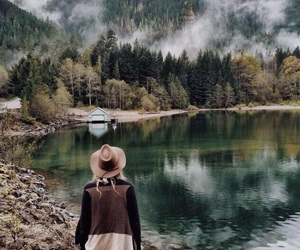 forest, girl, and landscape image