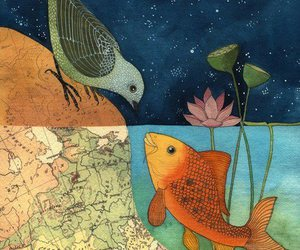 bird, fish, and art image