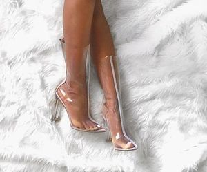 fashion, legs, and clear heels image