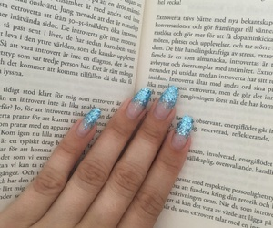 blue, books, and glitter image