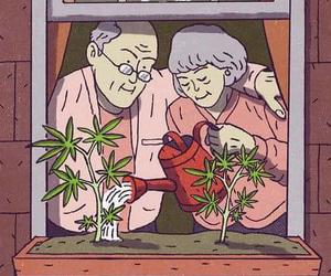 weed, drawing, and marijuana image
