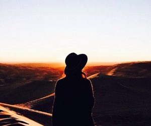 adventure, nature, and sunset image