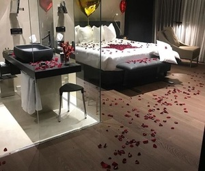 bedroom, room, and roses image