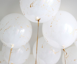 balloon, gold, and white image