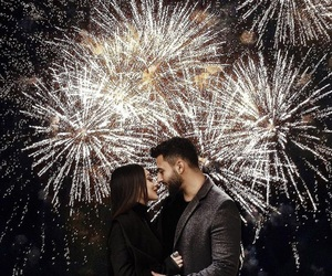 couple, fireworks, and new year image