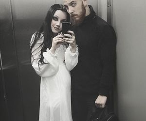 black hair, couple, and goth image