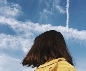 sky, girl, and yellow image