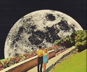 moon, girl, and love image