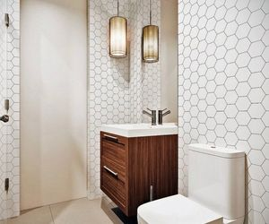 bathroom, light, and wood image