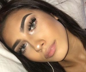 girl, makeup, and green eyes image