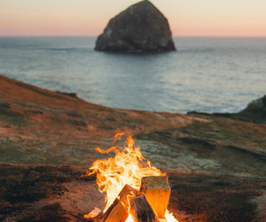 nature, beach, and fire image