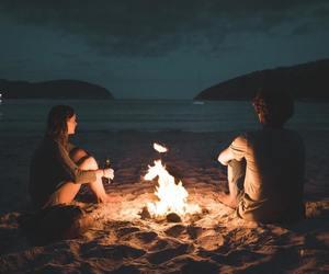 love, beach, and night image