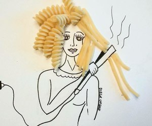 hair, pasta, and art image