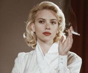 Scarlett Johansson, smoke, and cigarette image